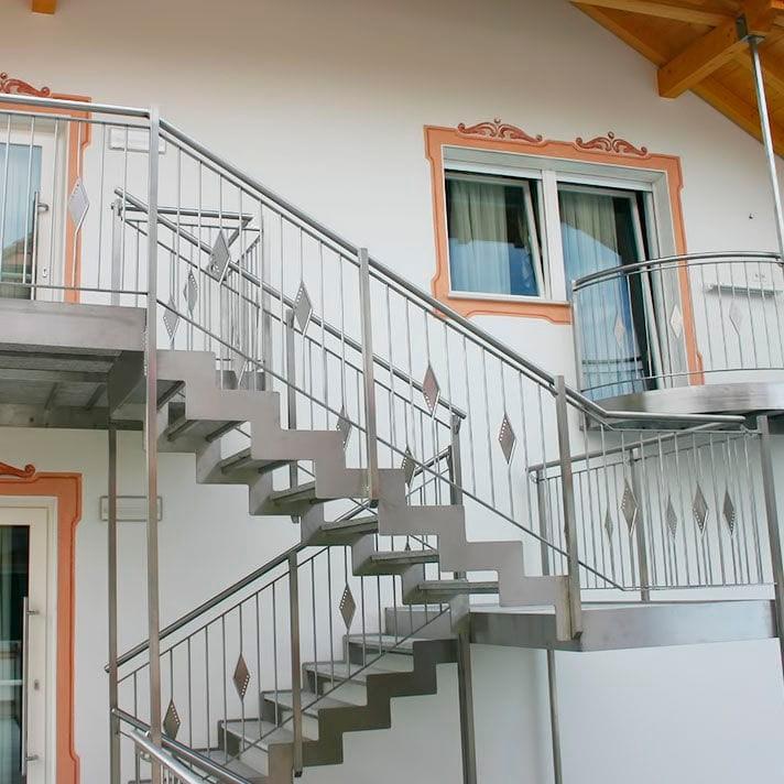 Straight Staircase Inox Design Half Turn Stainless Steel | Outdoor Steel Staircase Design | Steel Framed Exterior | Indoor | Vertical Wire Balustrade | Prefabricated Steel | Stair Handrail