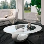 Contemporary Coffee Table Dubai Tonin Casa Marble Tempered Glass Oval