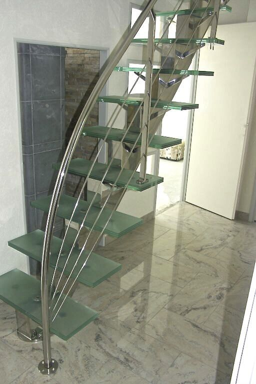 straight staircase stainless steel frame glass steps without risers manhattan inox poli et verre standard depoli