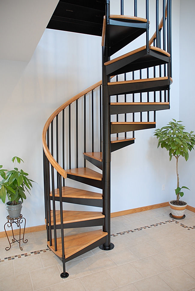 Spiral Staircase S 01A Salter Spiral Stair Stainless Steel | Spiral Staircase Wooden Steps | 2 Floor | Traditional | Enclosed | Kid Friendly | Solid