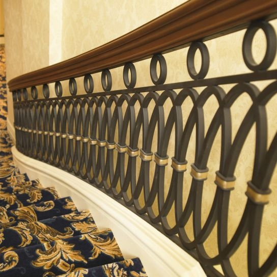 Wrought Iron Railing Oval 1410 Battig Design With Bars | Wood And Rod Iron Railing | Wooden | Dark Stained | Wrought Iron | Pipe | Simple Modern