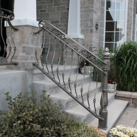 Wrought Iron Railing Belly 5910 Battig Design With Bars   Wrought Iron Handrails For Outdoor Steps   Patio   Deck   Rustic Iron   Contemporary   Pipe