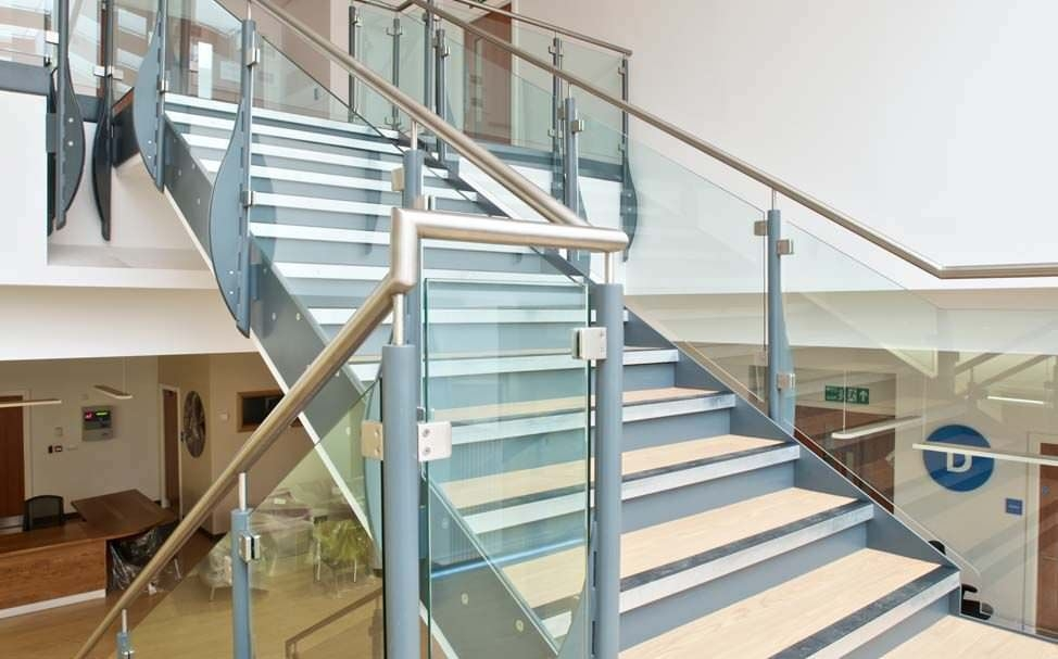 Straight Staircase Queens Medical Canal Engineering Metal | Steel And Concrete Stairs | Welding | Smooth | Cantilevered | Industrial | Cement