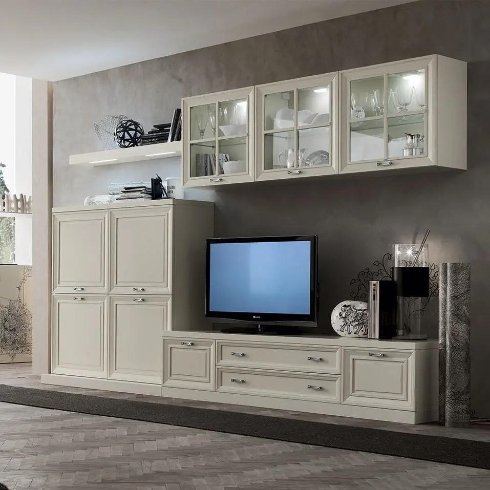 Scopri la vasta selezione di mobili per la zona giorno: Traditional Tv Wall Unit Mu452 Maronese Lacquered Wood