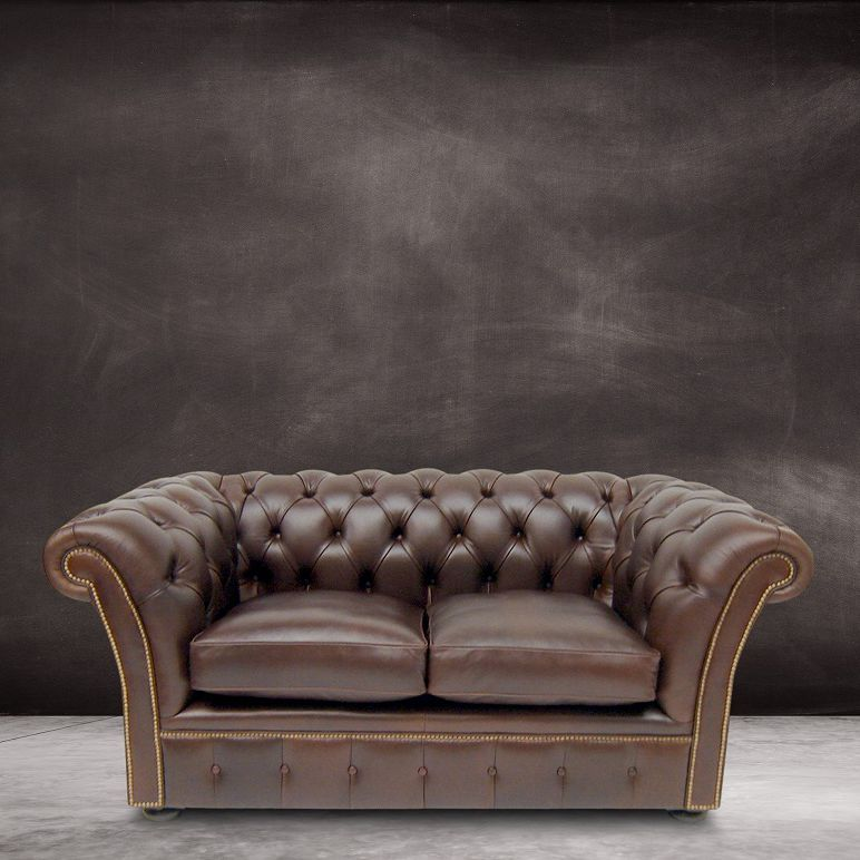 Rochester black leather 2 seater sofa for Leather house victor ny