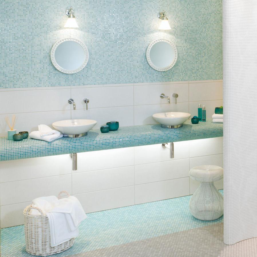 kitchen mosaic tile loop light aqua