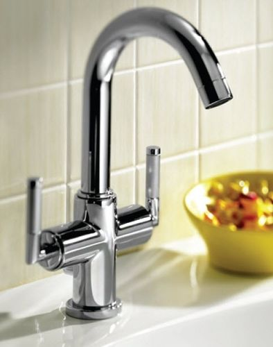 Washbasin double-handle mixer tap / free-standing / chromed metal / for bathrooms LOFT-ELITE ROCA