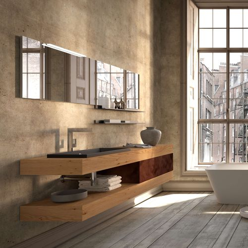 Contemporary washbasin cabinet / wood / ceramic / MDF AROMA 32 ARCHEDA