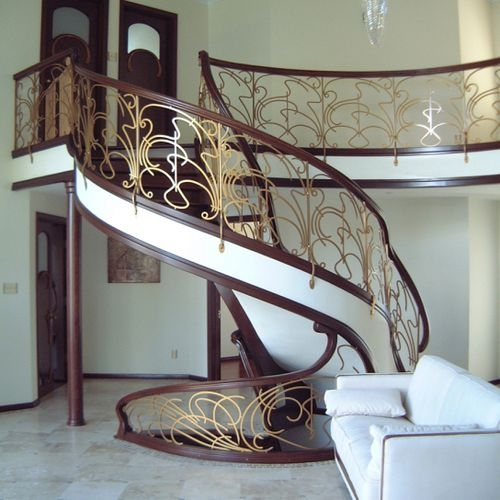 Metal Railing Russia 1810 Battig Design With Bars Indoor | Metal Railing Designs Stairs | Rot Iron Staircase | Step | Luxury | Creative Outdoor Stair | Curved Railing