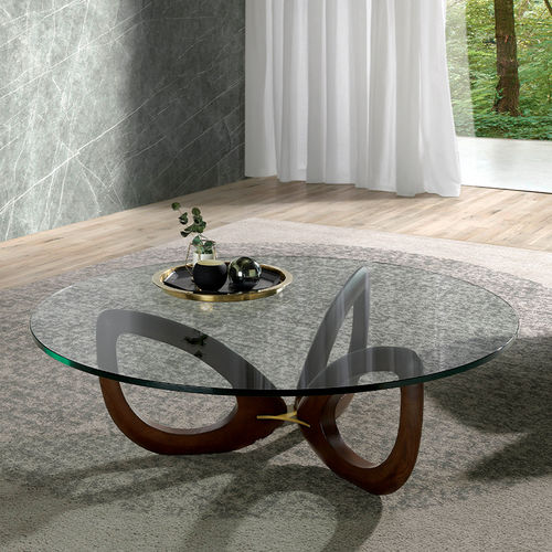 tempered glass crystal solid wood base