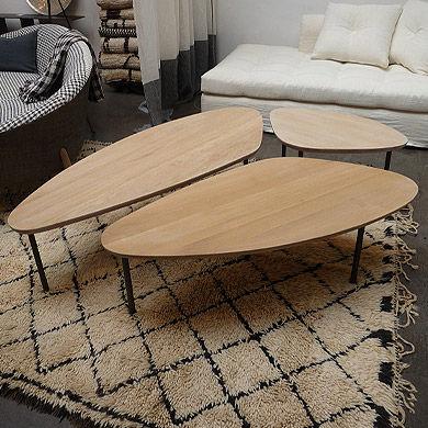table basse contemporaine en bois triangulaire