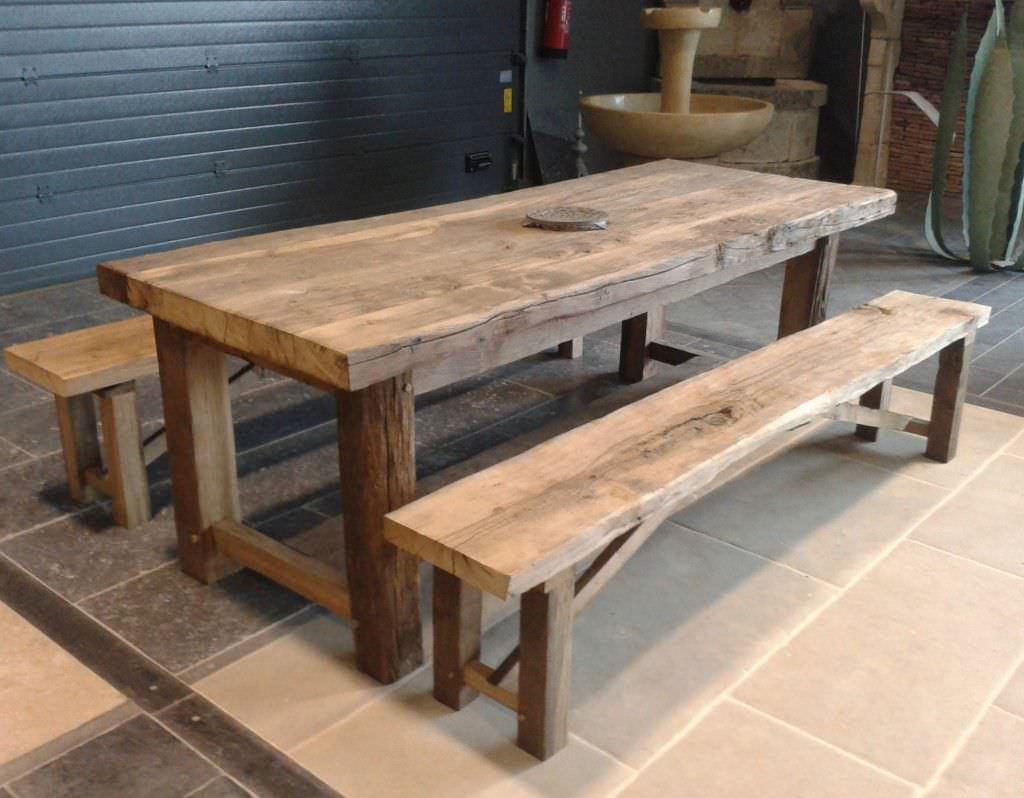 ensemble table et bancs contemporain