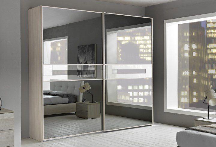 armoire contemporaine en bois avec porte coulissante avec miroir lampo rl0216