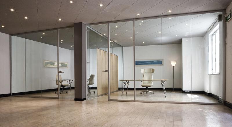 cloison fixe en aluminium vitree de bureau