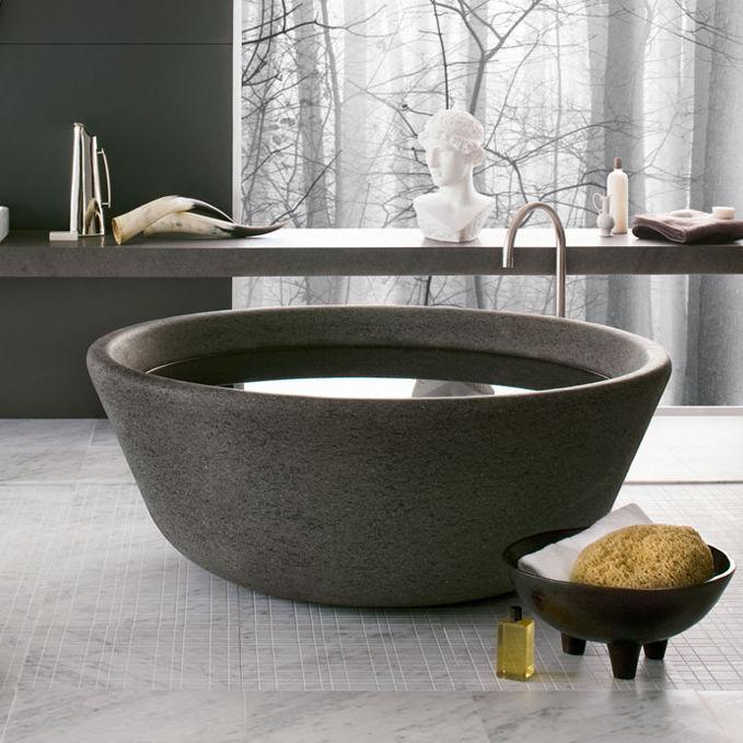 baignoire a poser ronde en pierre naturelle spa v4 by nespoli e novara