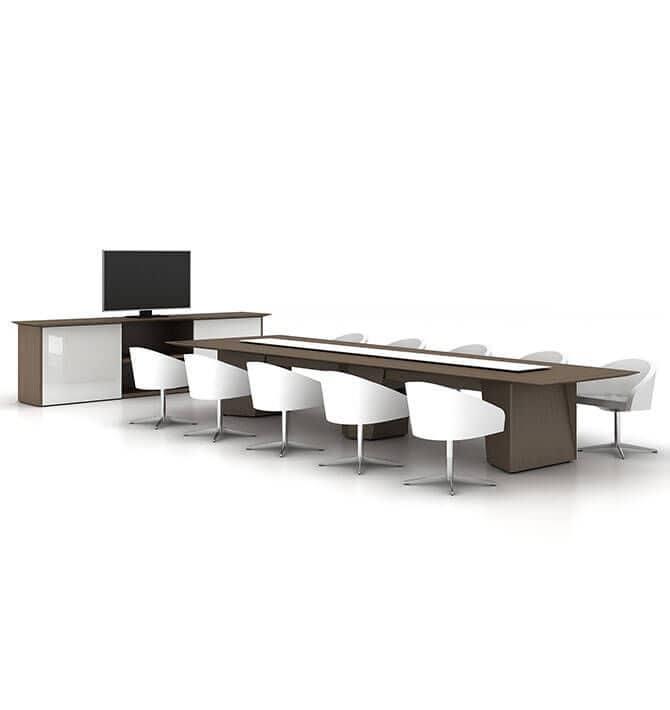 table de reunion contemporaine en bois rectangulaire avec prise de courant integree