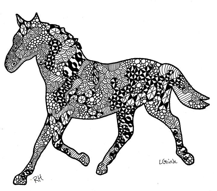 Horse Zentangle Motive Zentangle Motives Paintings