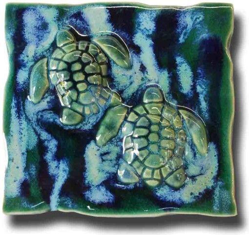 hawaiian sea turtles tile plaque