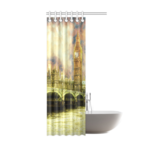 abstract golden westminster bridge in london shower curtain 36 x72 id d261702
