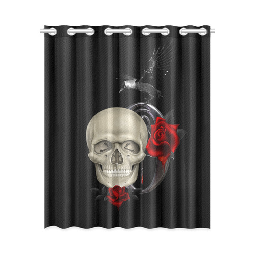 gothic skull with raven and roses new window curtain 52 x 63 one piece id d1215641