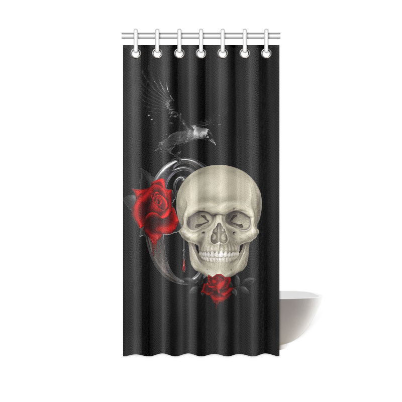gothic skull with raven and roses shower curtain 36 x72 id d1215617