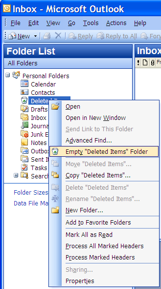Empty Deleted Items folder selection in Outlook