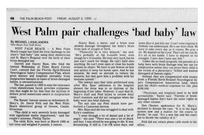 "Newspaper tear sheet with ""bad baby bill"" headline."