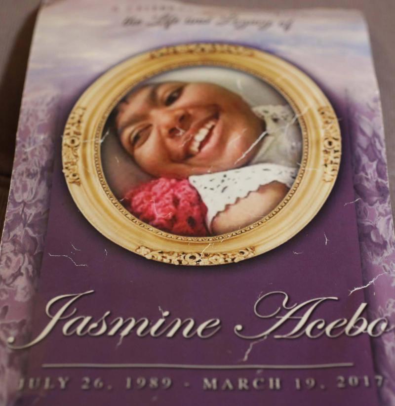 The program for Jasmine's memorial service.