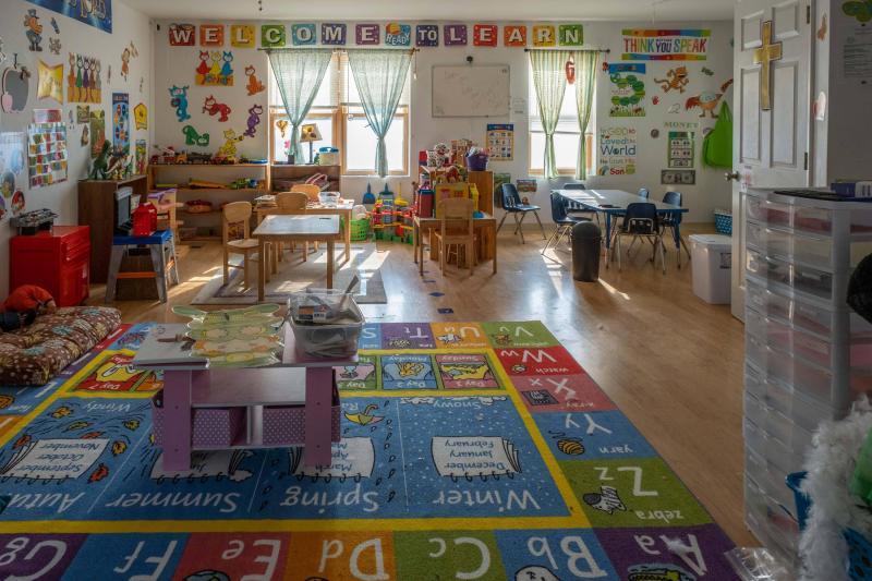 A colorful daycare interior.