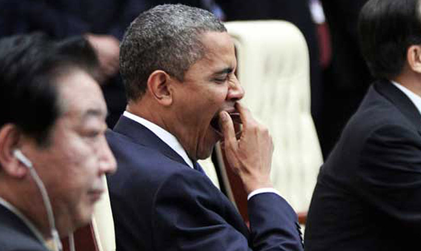 Obama yawns during plenary session of 21st ASEAN and East Asia summits in Phnom Penh, Nov 2012. - REUTERS