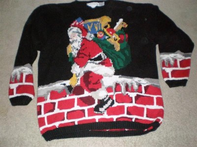 Ugly Christmas Sweater - Santa climbing down Chimney