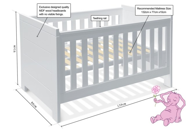 Please See Below For Cot Dimensions And Recommended Mattress Size