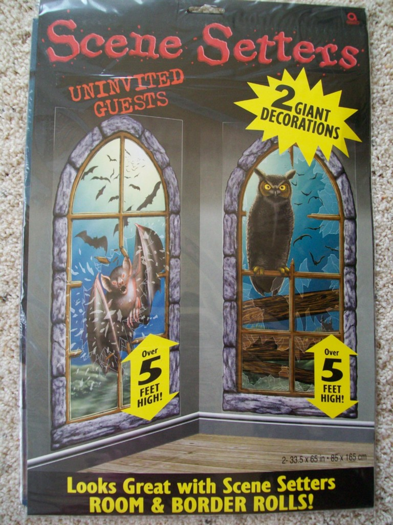 2 NEW HALLOWEEN Decorations Scene Setters Window Bats