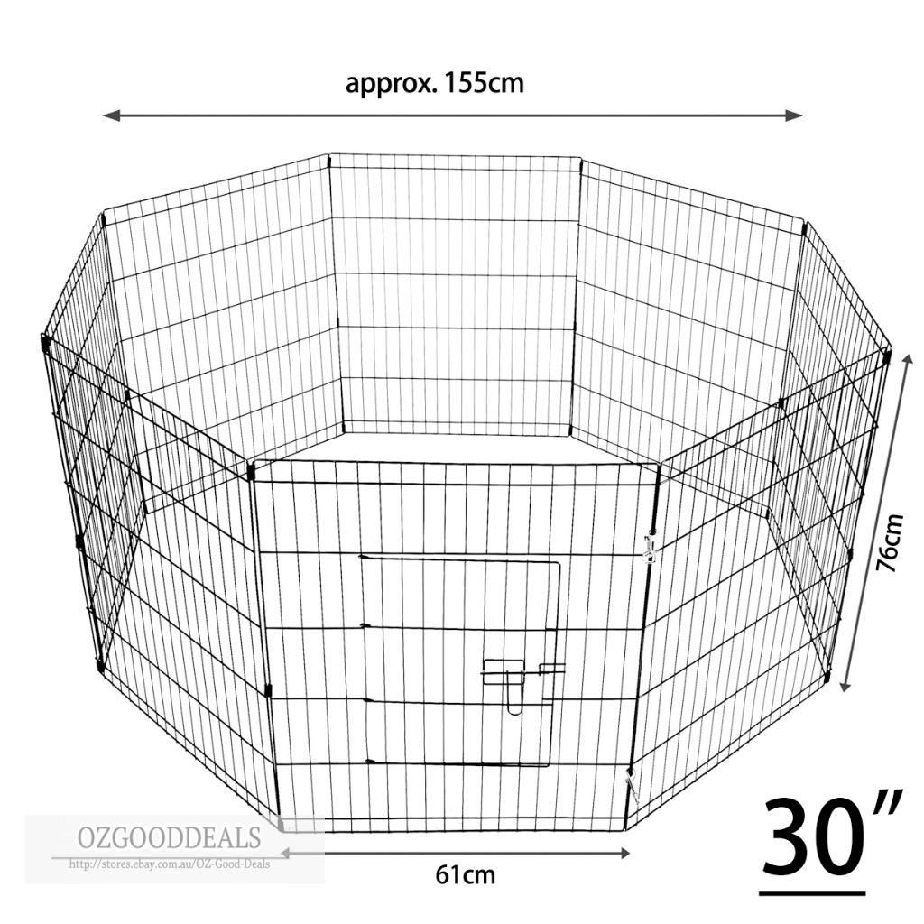 30 8 Panel Pet Playpen Portable Cage Fence Enclosure Dog