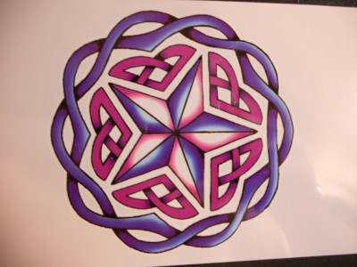 """CELTIC STAR NEW AGE DESIGN. Temporary Tattoo. GIANT Size = 4"""" x 4"""". Shipping is only .45c (in USA) To Canada = .95c --- To Mexico = $1.45, & To UK, Europe,"""