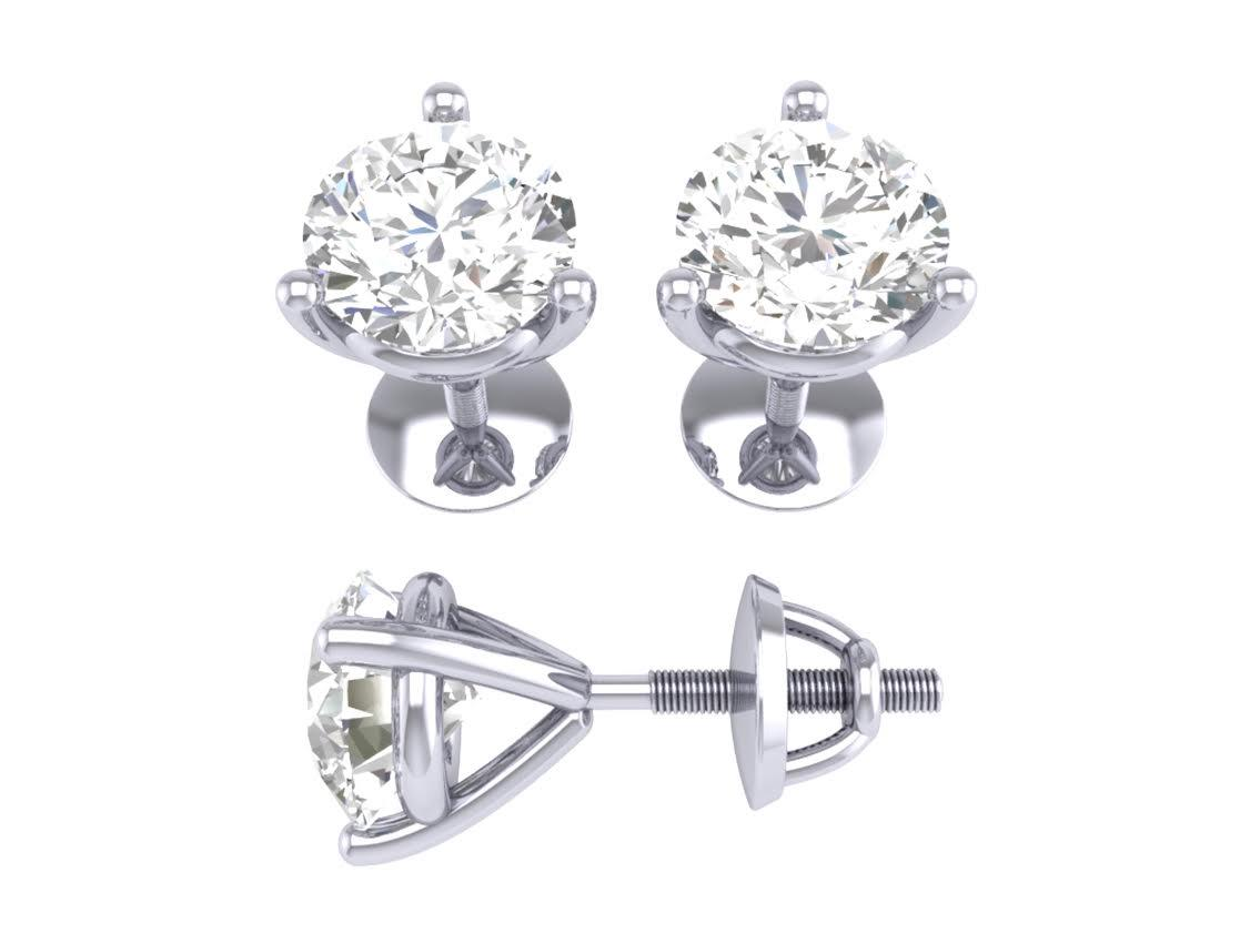 Solitaire Stud Earrings 0 80 Ct I1 G Round Diamond Martini