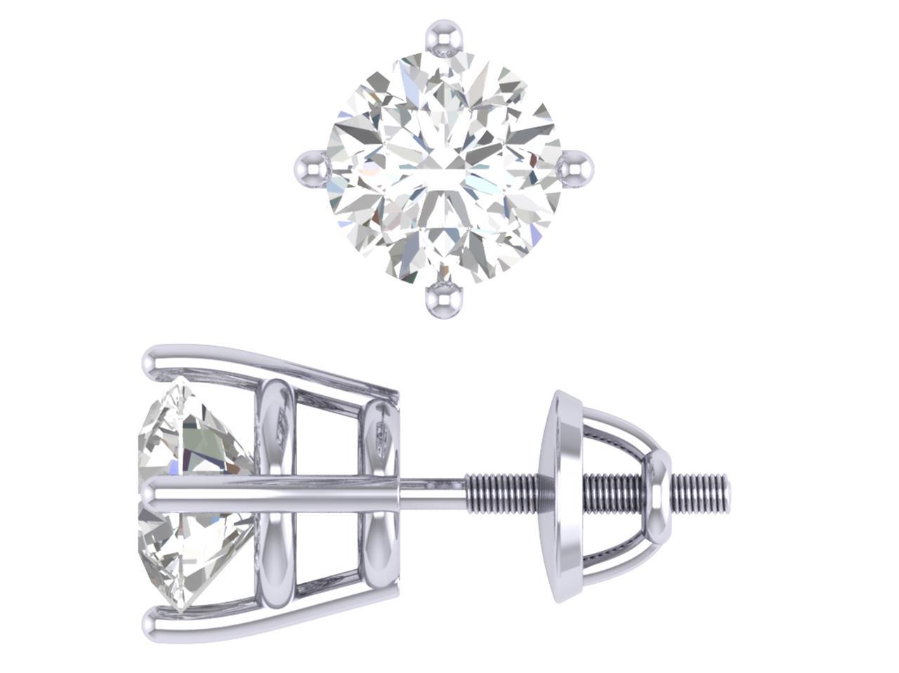 4 Prong Set I1 G 1 01ct Round Cut Diamond 14k White Gold