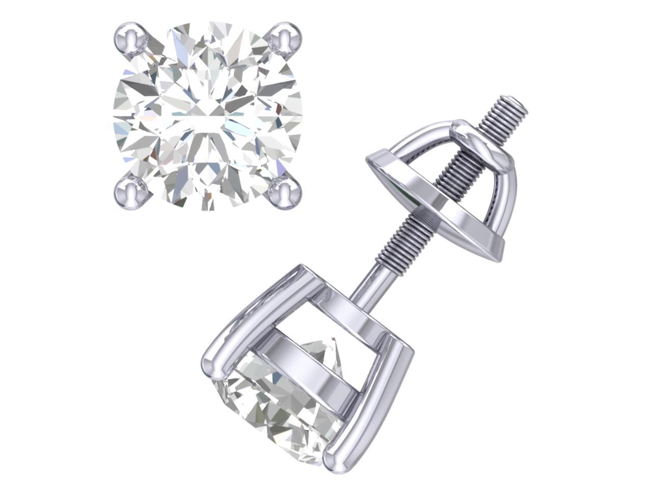 0 50 Ct Round Diamond Solitaire Stud Earrings 14k White