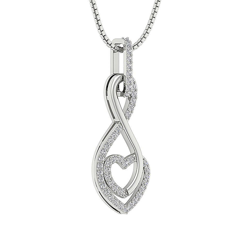Heart Knot Pendant Necklace Si1 G 0 50 Ct Round Diamond