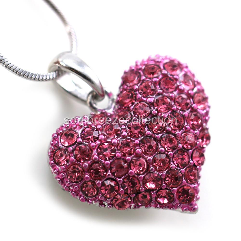 Small Love Pink Heart Valentines Day Pendant Necklace