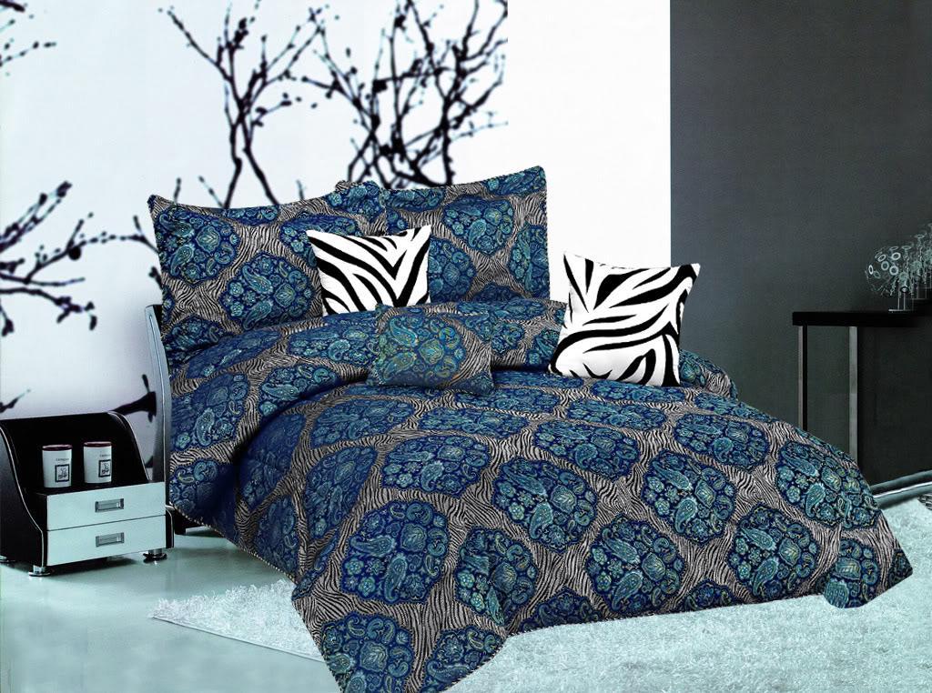 7PC Ocean BLUE Flocking Comforter Set QUEEN SIZE