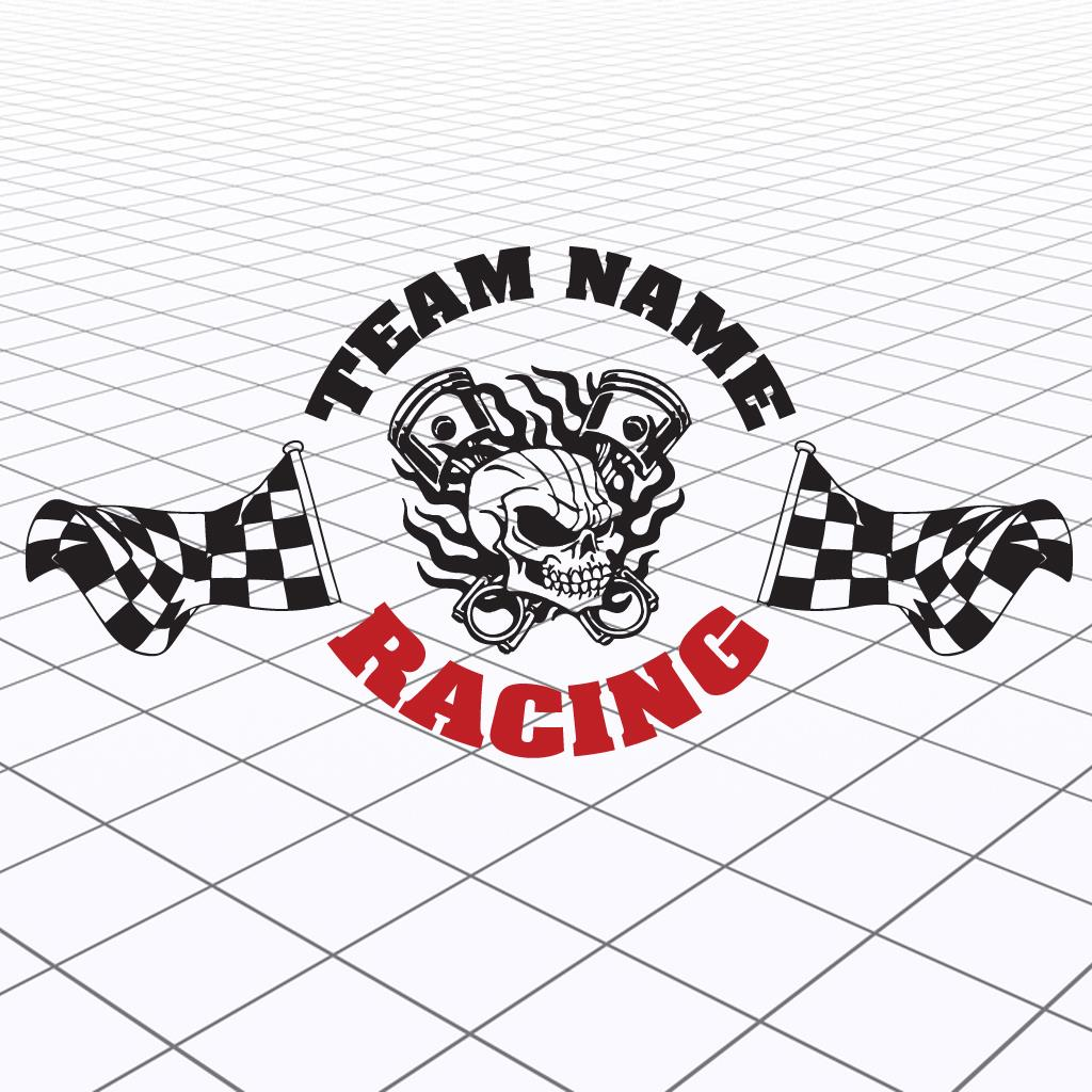 Checkered Flag Team Decal Skull Race Team Graphic Racing