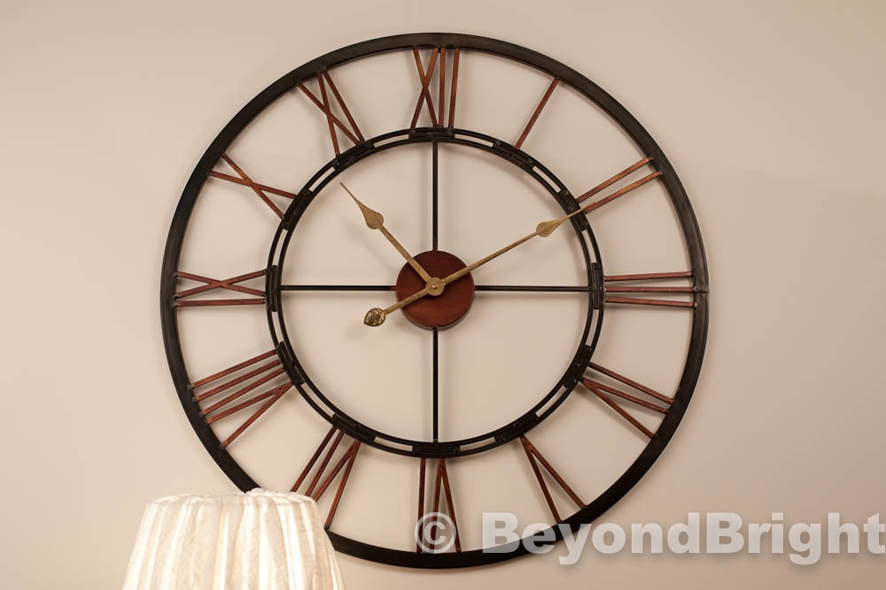X Large Metal Wrought Iron Wall Clock Vintage French