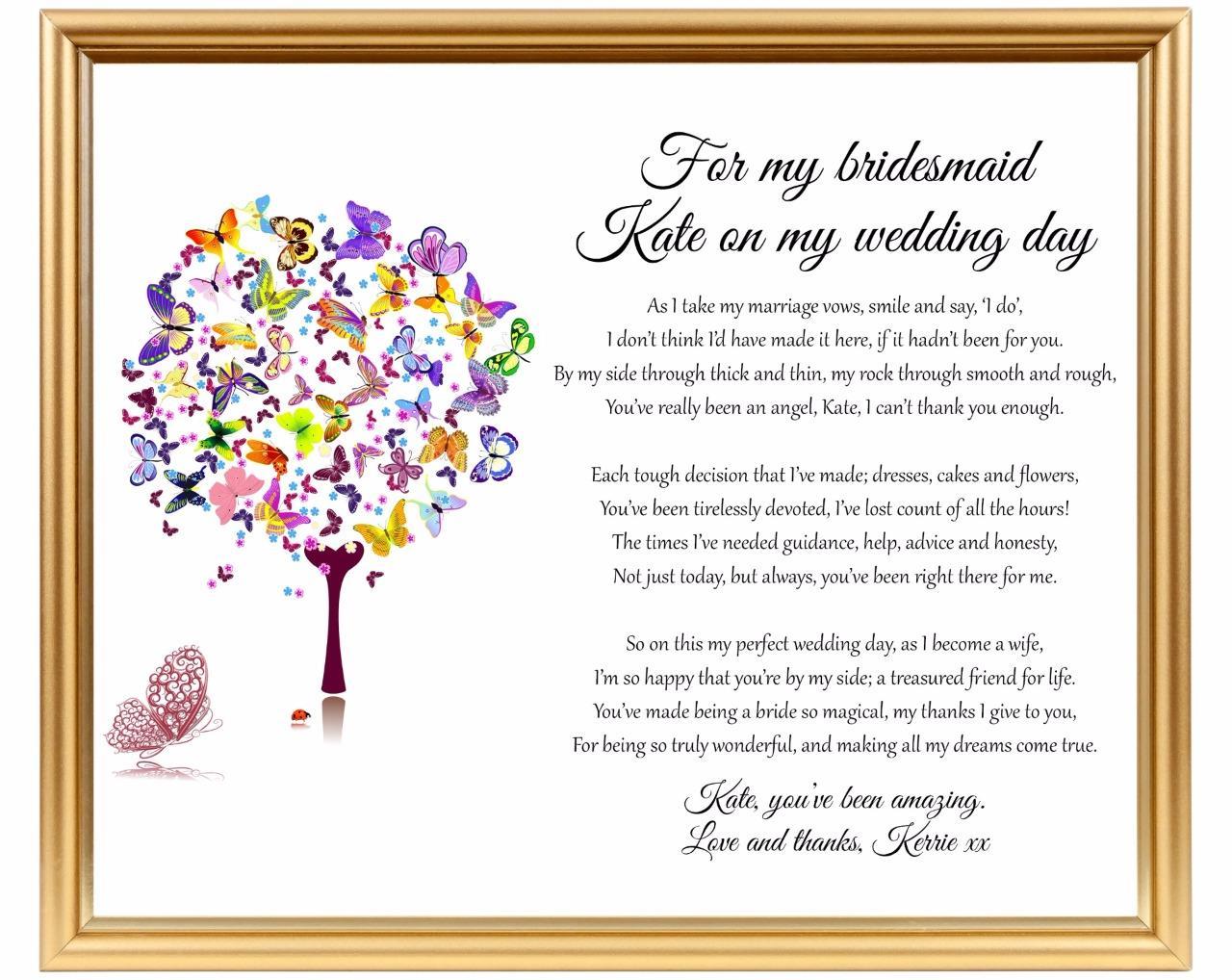 Bridesmaid Thank You Poem