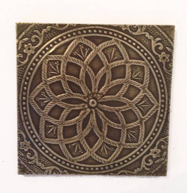 White Metal and Brass Embossed Square Drink coasters - set ...