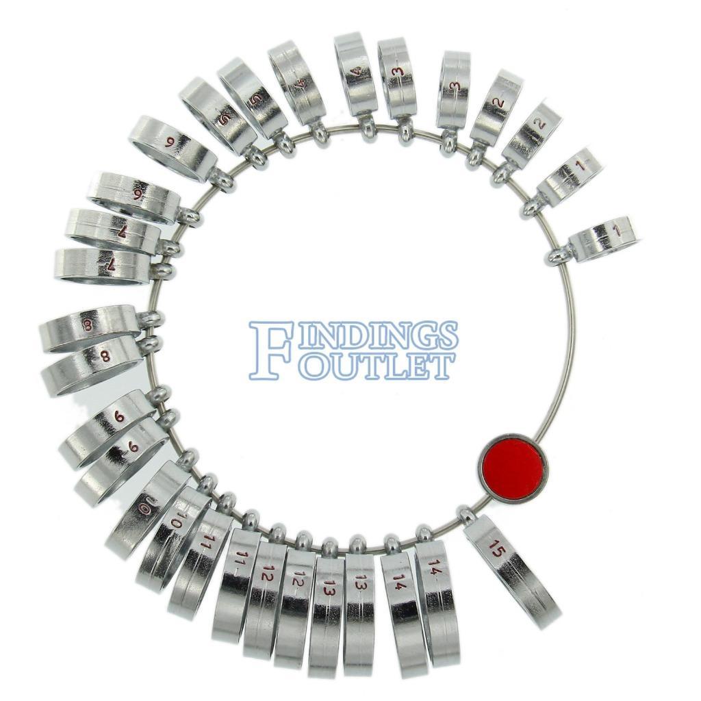 Finger Ring Sizer Gauge Measures Size 1 15 Wide Band Metal
