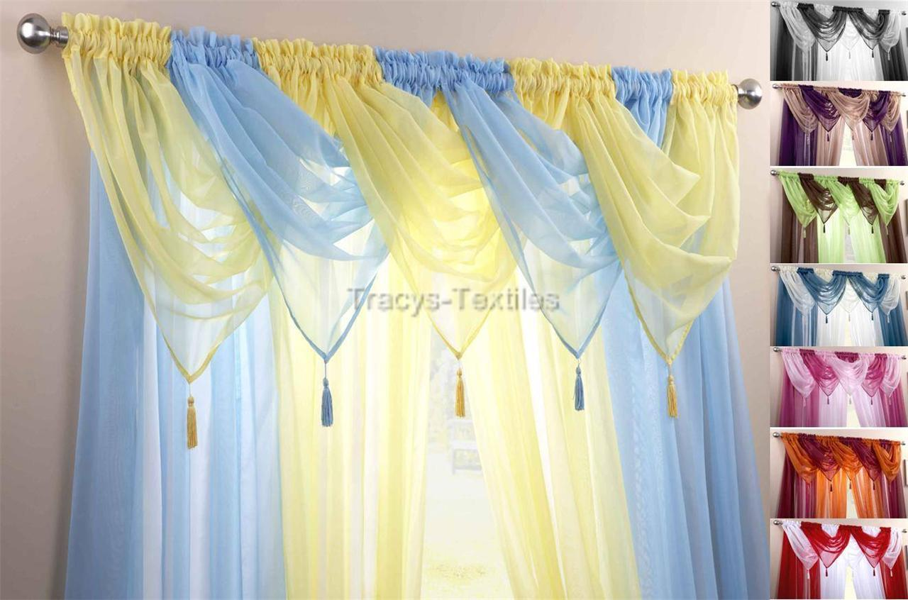 Voile Swag Swags Tassle Decorative Net Curtain D S