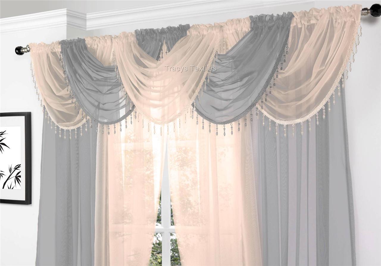 Gemma Beaded Round Voile Curtain Amp Swag 9 Piece Set D