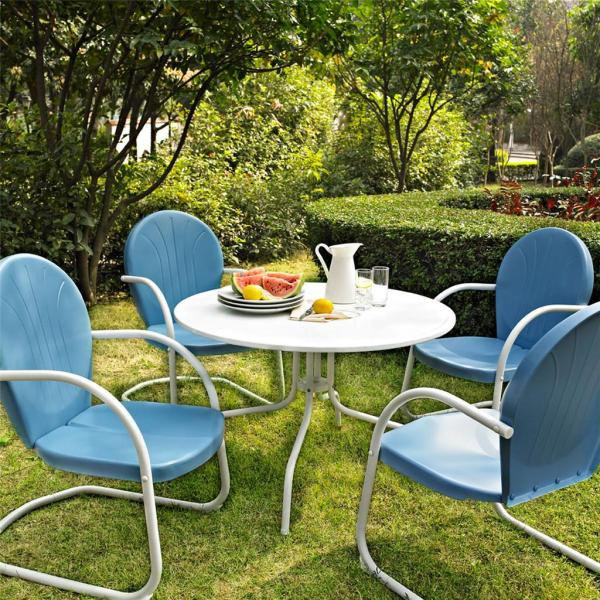 metal patio furniture Blue White OUTDOOR METAL RETRO 5 PIECE DINING TABLE