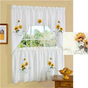Sunflower Kitchen Curtains Tier Swag Set Embellished